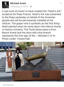 Մայքլ Արամի քանդակը` նվեր Հռոմի Պապին հայ ժողովրդի անունից